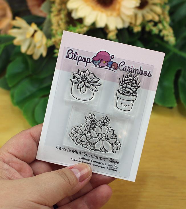 """Cartela de Carimbos Mini - """"Suculentas"""" - Lilipop Carimbos   - Lilipop carimbos"""