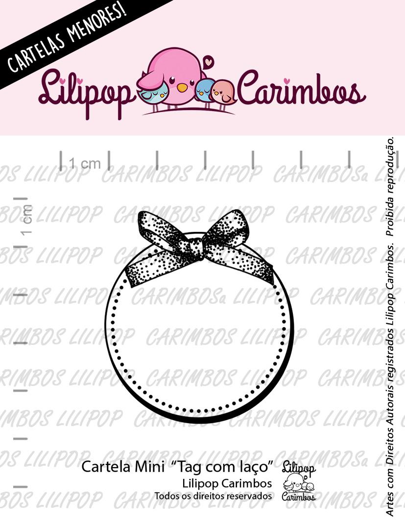 "Cartela de Carimbos Mini - ""Tag com laço"" - Lilipop Carimbos  - Lilipop carimbos"