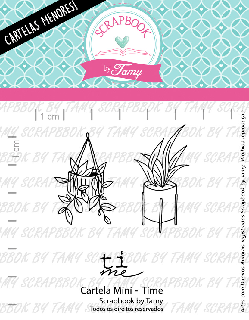 "Cartela de Carimbos Mini - ""Time"" - Scrapbook by Tamy  - Lilipop carimbos"