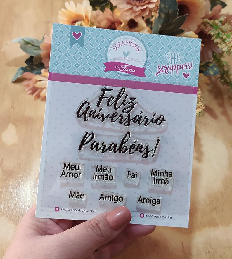 """Cartela de Carimbos - """"Parabéns"""" - Scrapbook by Tamy  - Lilipop carimbos"""