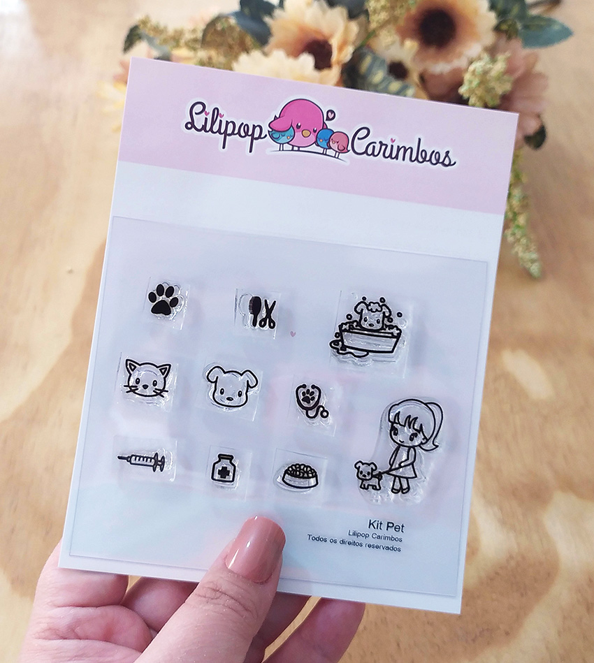 "Cartela de Carimbos - ""Pet"" - Lilipop Carimbos   - Lilipop carimbos"