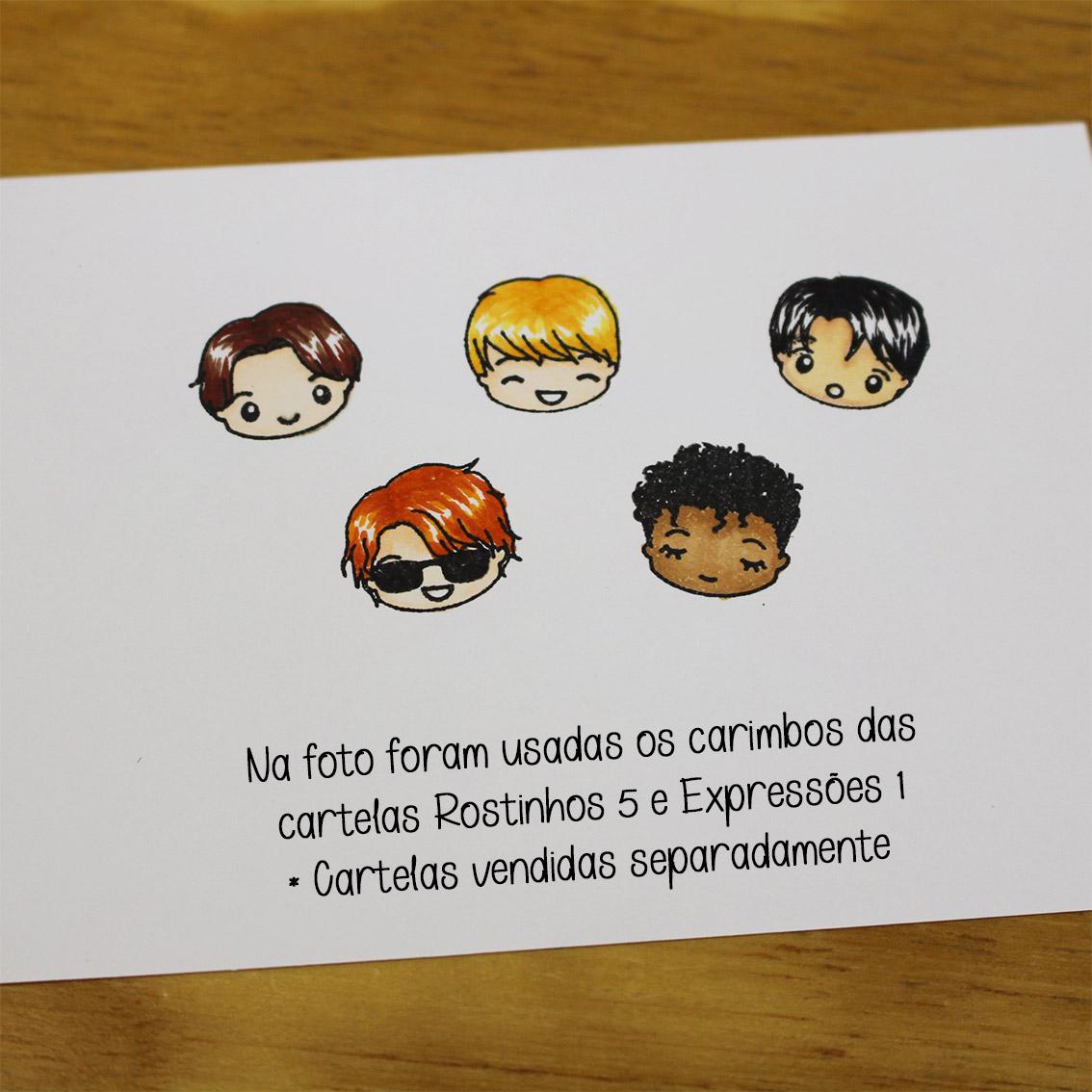 """Cartela de Carimbos - """"Rostinhos 5"""" - Lilipop Carimbos  - Lilipop carimbos"""
