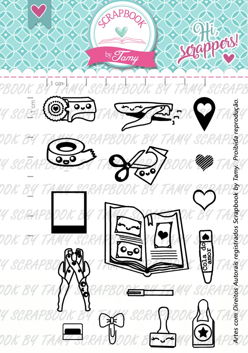 Kit de carimbos - Amo Scrap - Scrapbook by Tamy