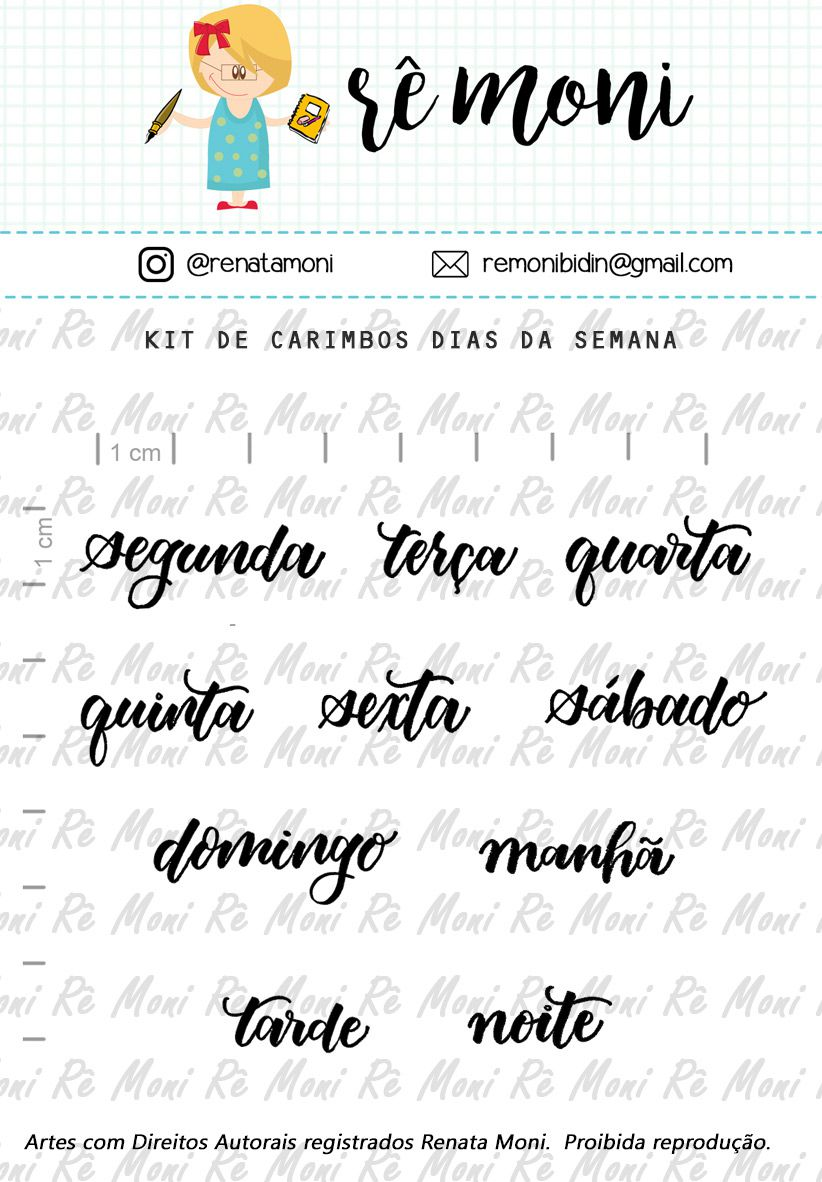 Kit de Carimbos - Dias da Semana - Remoni