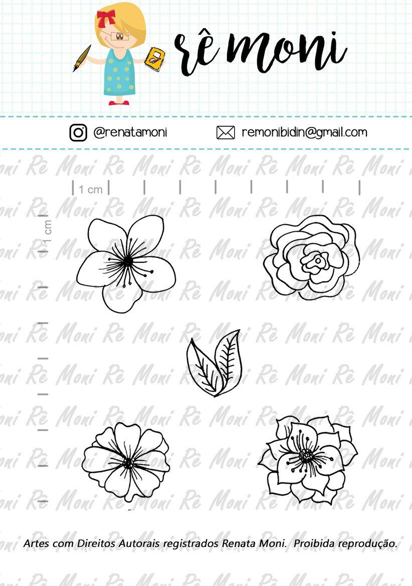 Kit de Carimbos - Flores Diversas - Remoni