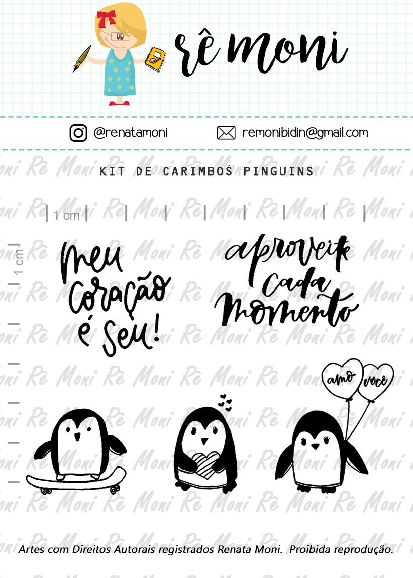 Kit de Carimbos - Pinguins - Remoni