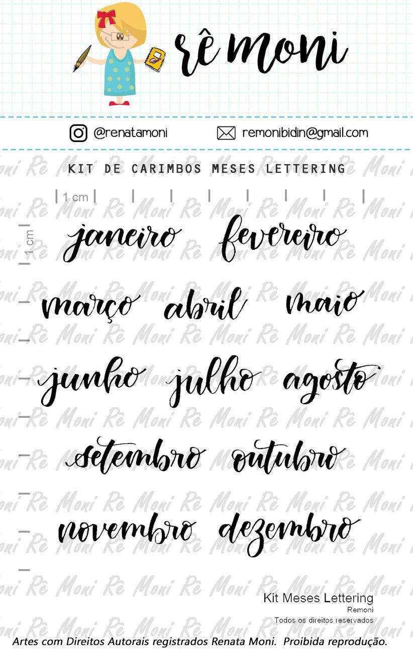 Kit de Carimbos - Meses Lettering - Remoni