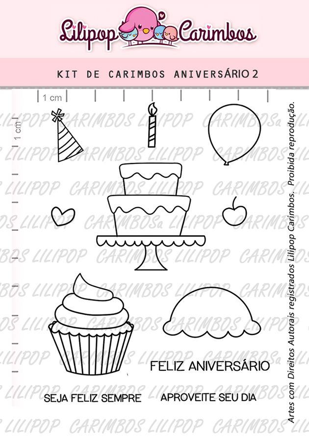 Kit de Carimbos - Aniversário 2 (LILIPOP CARIMBOS)