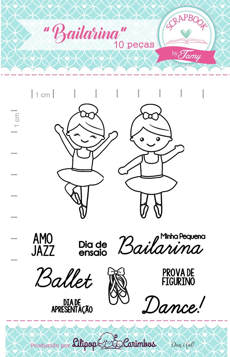 Kit de Carimbos - Bailarina - Scrapbook by Tamy