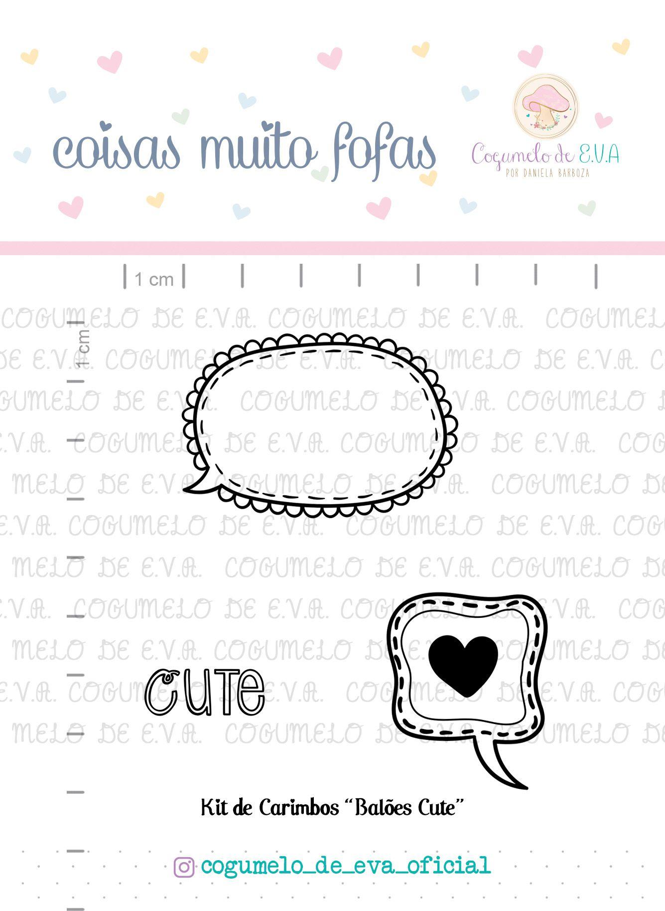 "Kit de Carimbos ""Balões Cute""   Cogumelo de E.V.A."