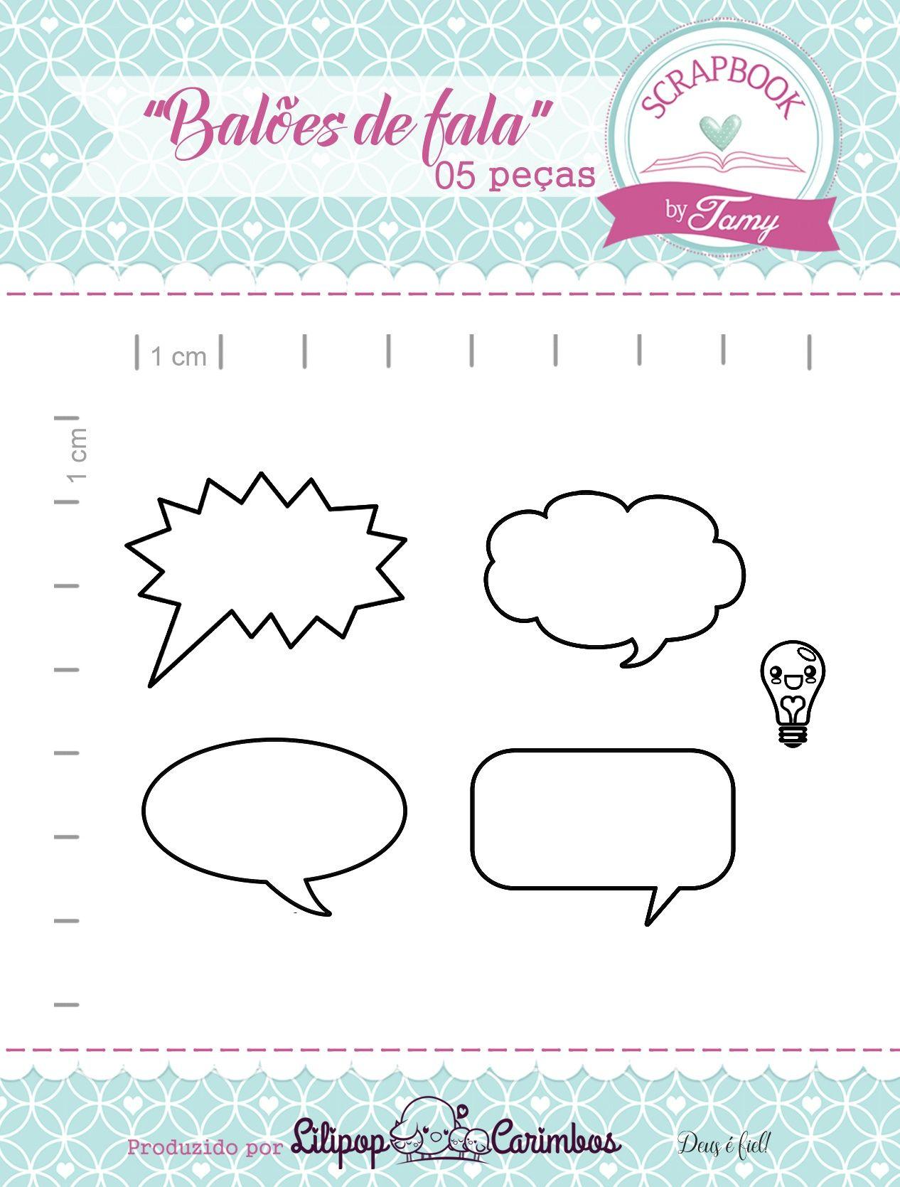 Kit de Carimbos - Balões de Fala - Scrapbook by Tamy