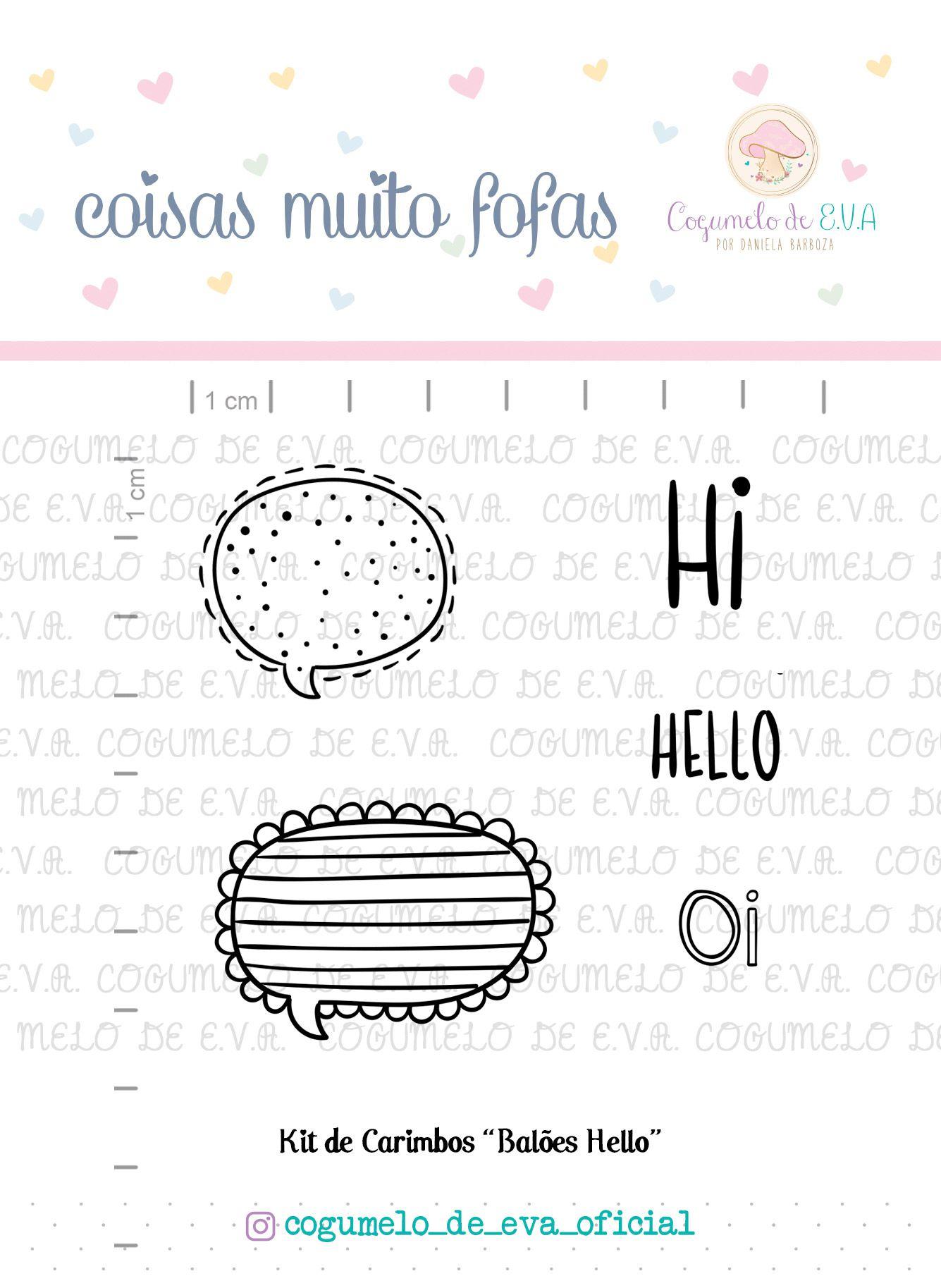 """Kit de Carimbos """"Balões Hello""""   Cogumelo de E.V.A."""
