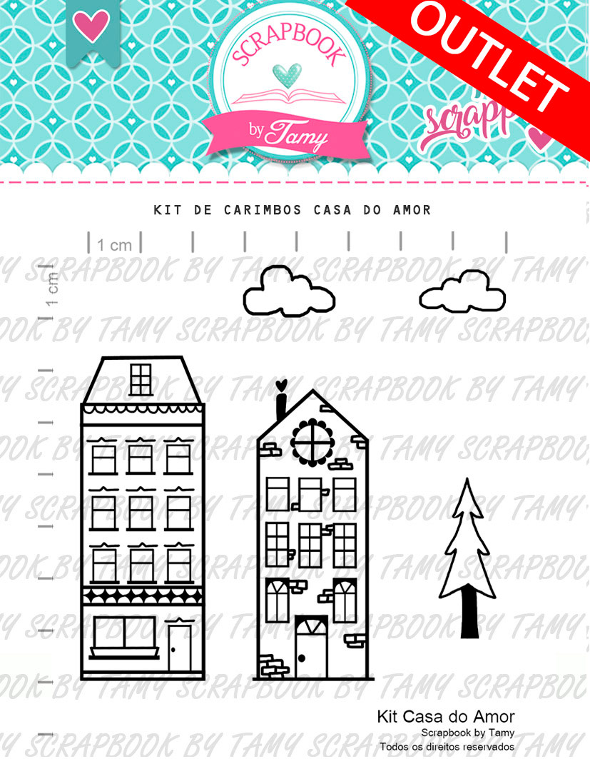 "Cartela de Carimbos - ""Casa do Amor"" - Scrapbook by Tamy  - Lilipop carimbos"