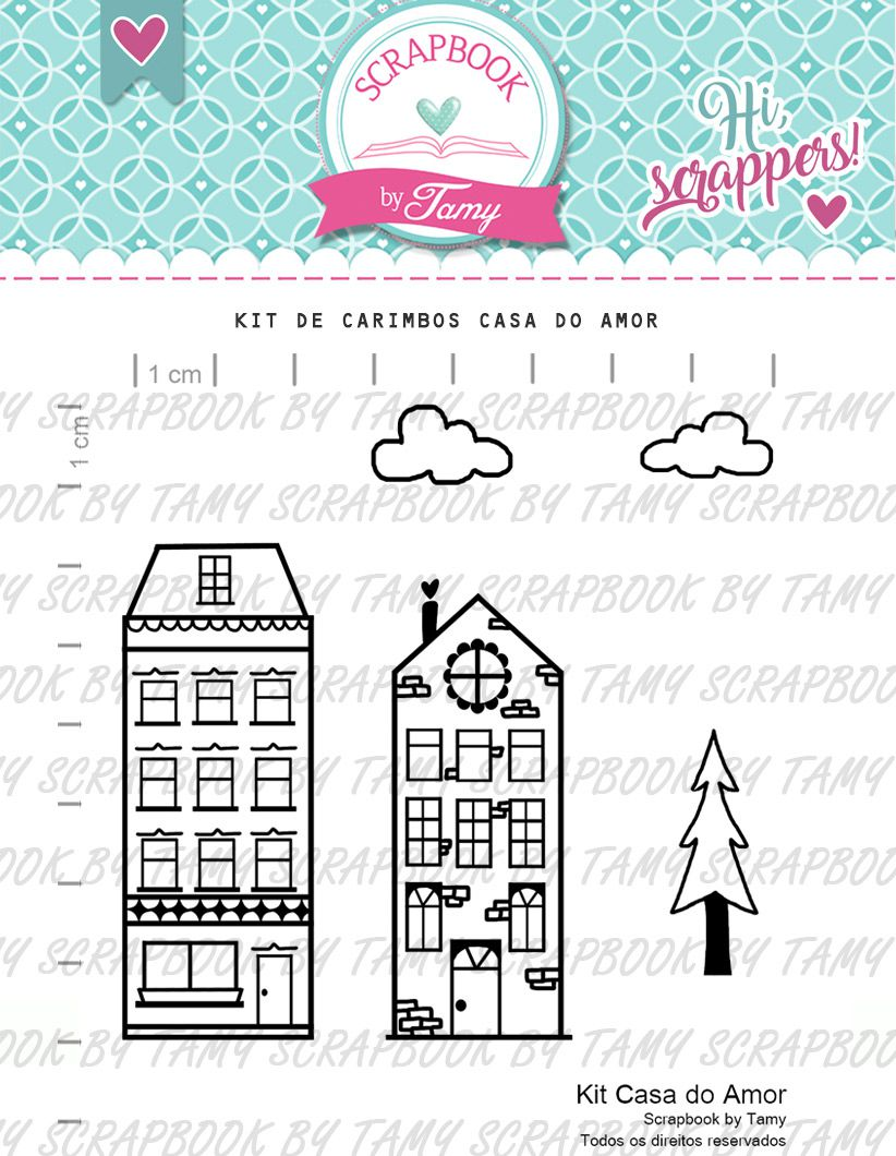 Kit de Carimbos - Casa do Amor  - Scrapbook by Tamy