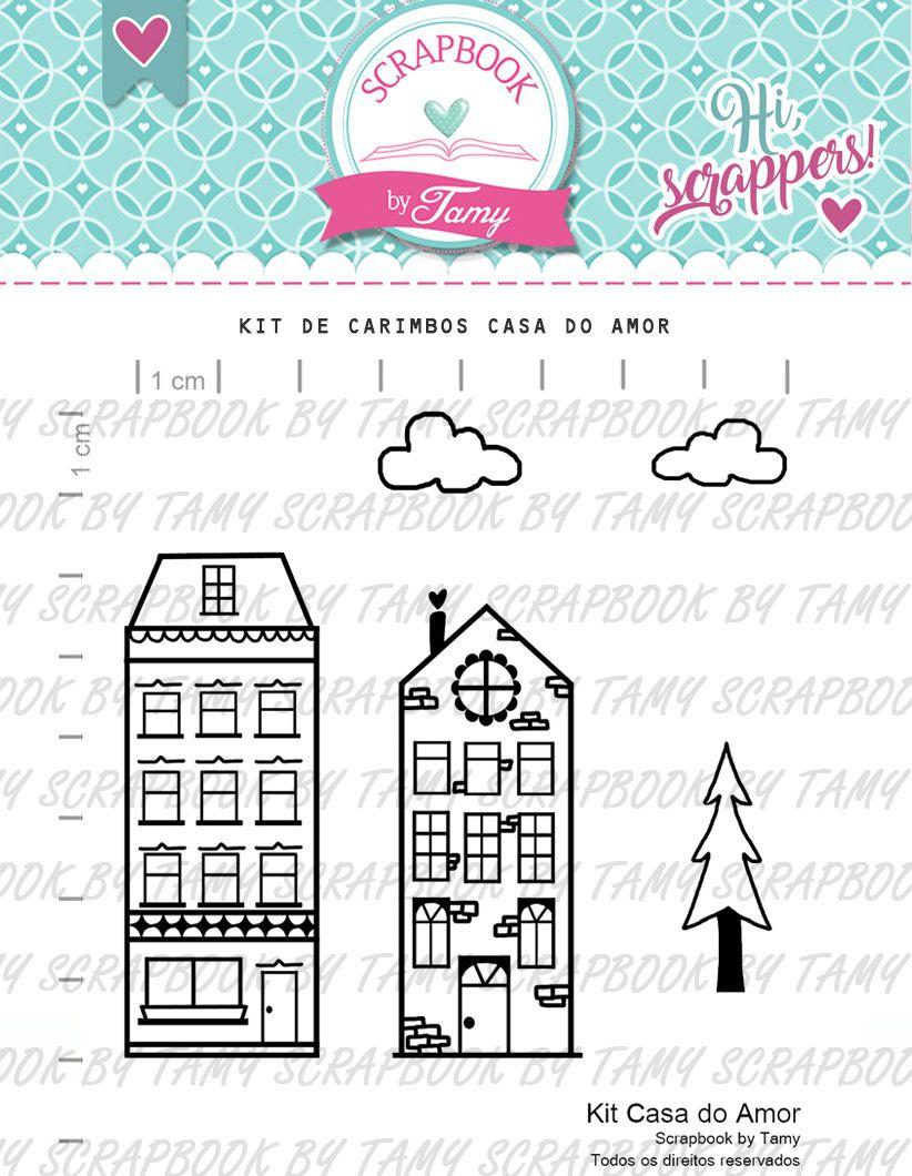 Kit de Carimbos - Casa do Amor  - Scrapbook by Tamy