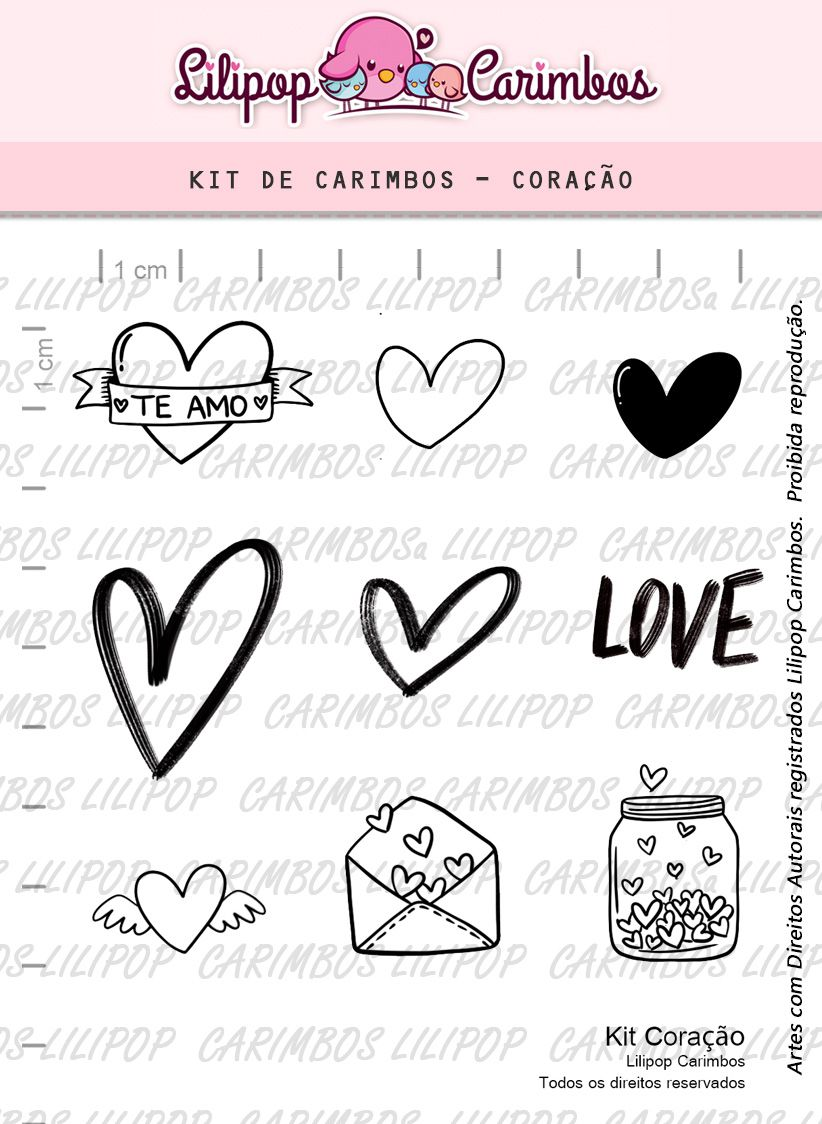 Kit  de Carimbos - Coração  LILIPOP CARIMBOS