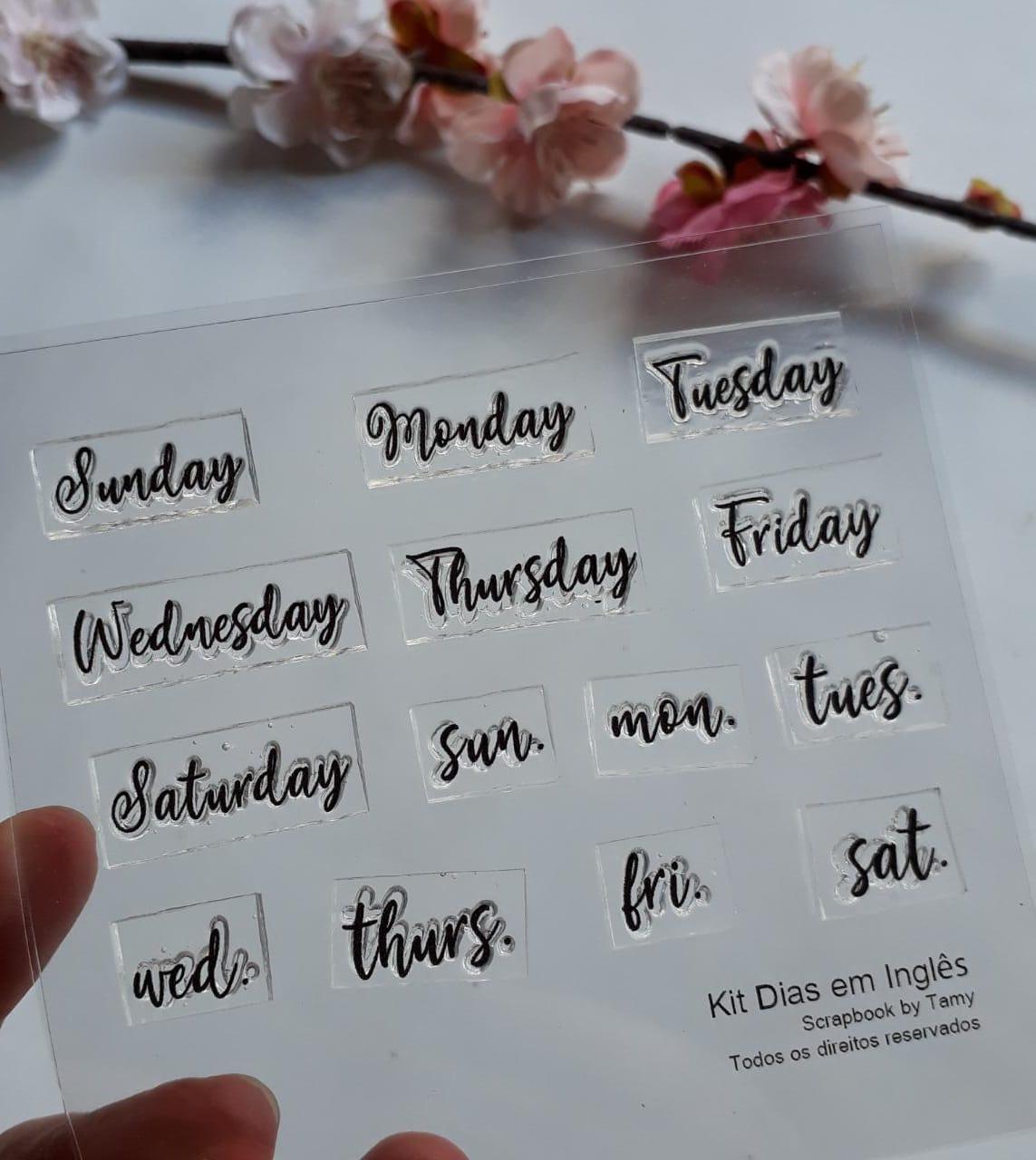 Kit de Carimbos - Dias da Semana em Inglês - Scrapbook by Tamy
