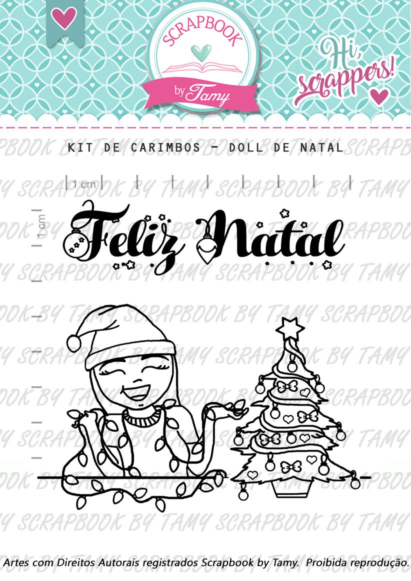 Kit de  Carimbos - Doll de Natal - Scrapbook by Tamy