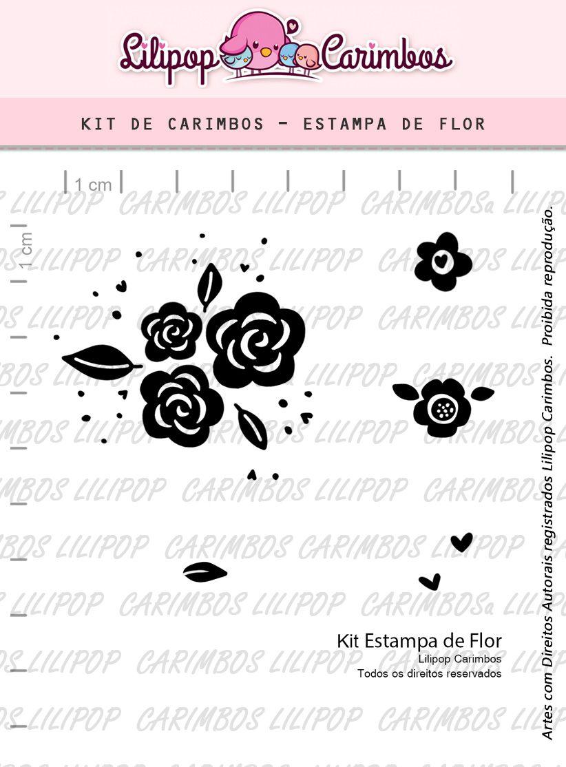 Kit  de Carimbos - Estampa de Flor LILIPOP CARIMBOS