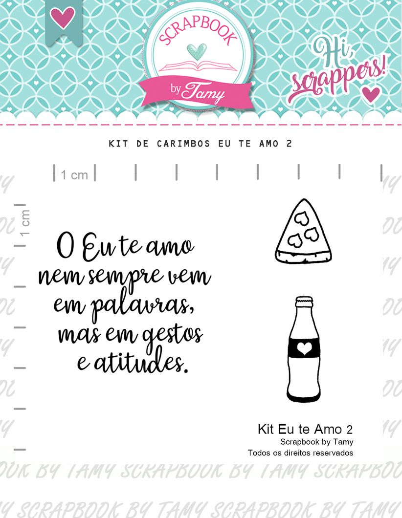Kit de Carimbos Eu te amo 2 - Scrapbook by Tamy