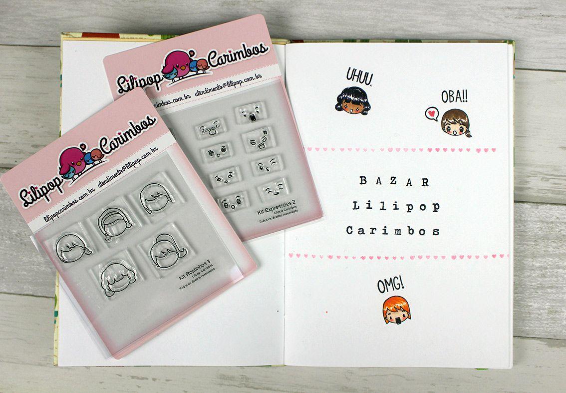 Kit  de Carimbos - Expressões 2  LILIPOP CARIMBOS