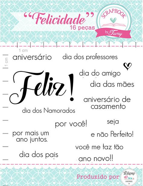 Kit de Carimbos - Felicidade - Scrapbook by Tamy