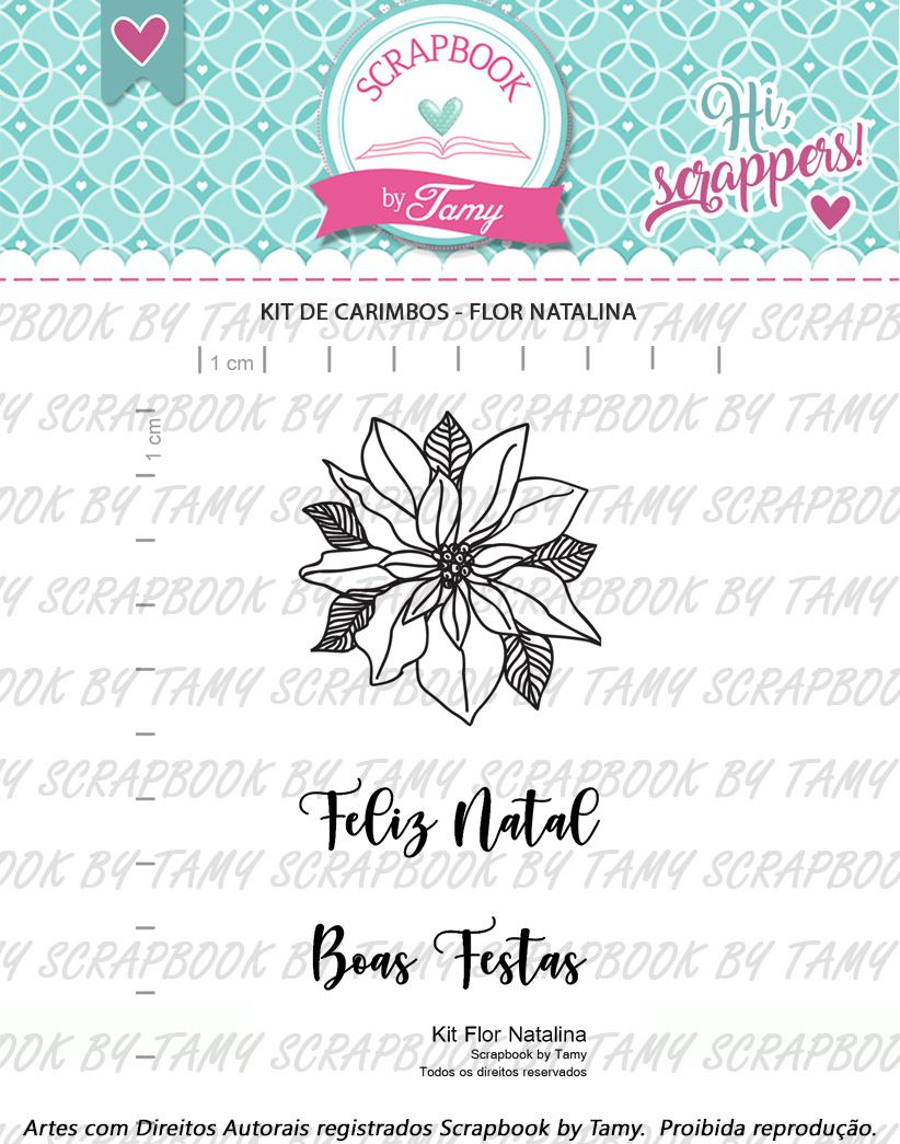 Kit de Carimbos - Flor Natalina  - Scrapbook by Tamy