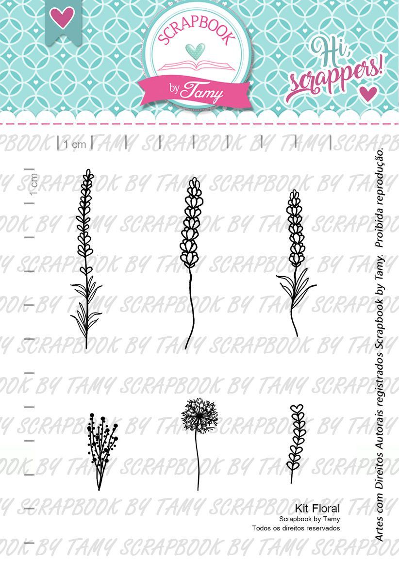 Kit de Carimbos Floral -  Scrapbook by Tamy