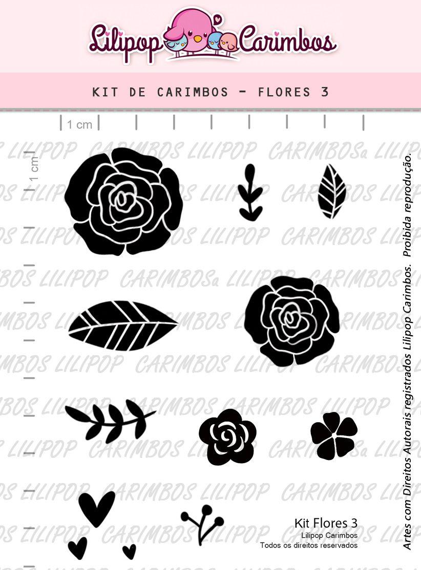 Kit  de Carimbos - Flores 3  LILIPOP CARIMBOS