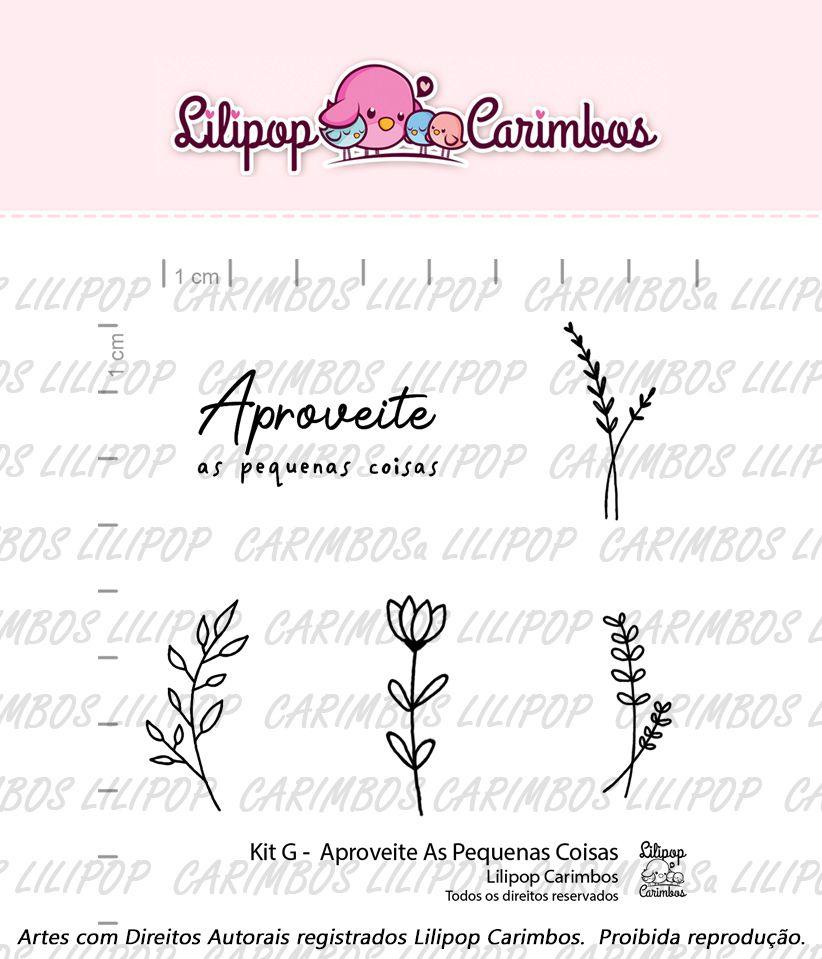 "Cartela de Carimbos G - ""Aproveite as Pequenas Coisas"" - Lilipop Carimbos  - Lilipop carimbos"