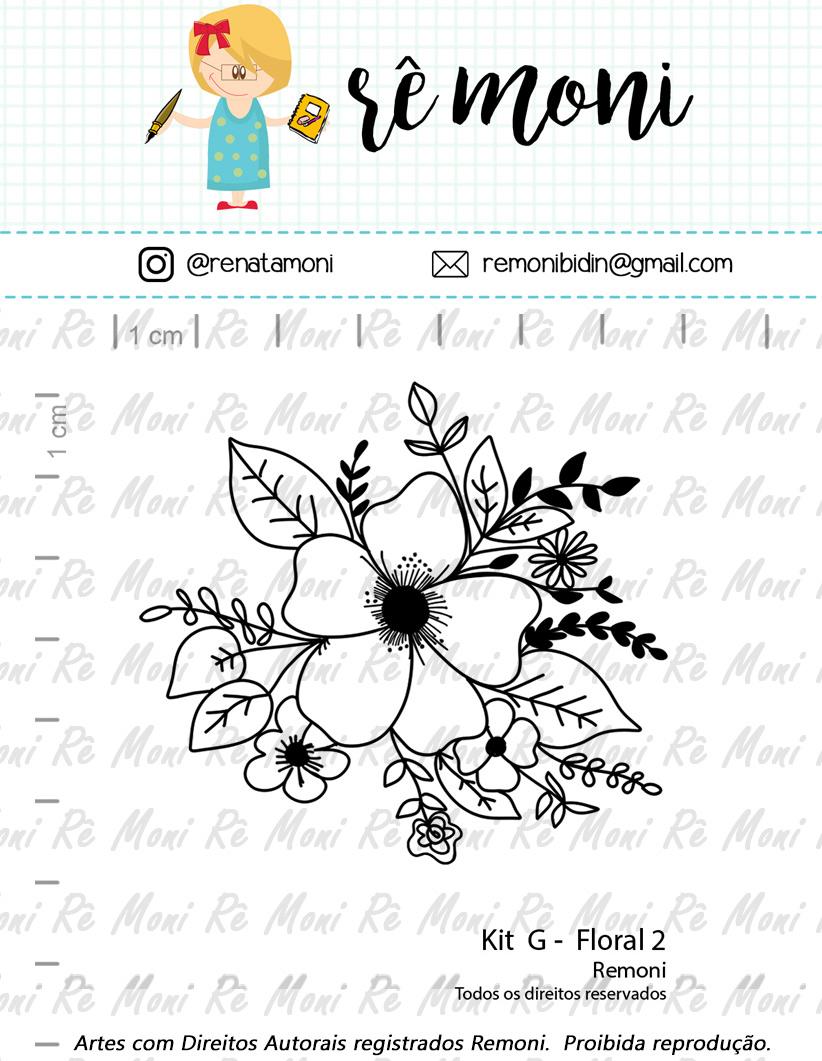 "Cartela de Carimbos G -  ""Floral 2"" - Remoni  - Lilipop carimbos"