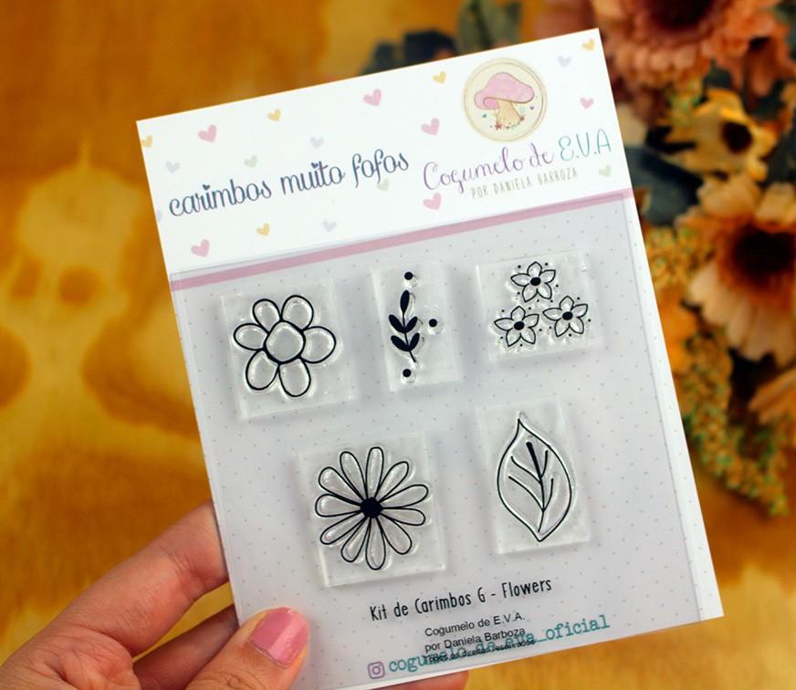 """Kit de Carimbos G - """"Flowers""""   Cogumelo de E.V.A."""