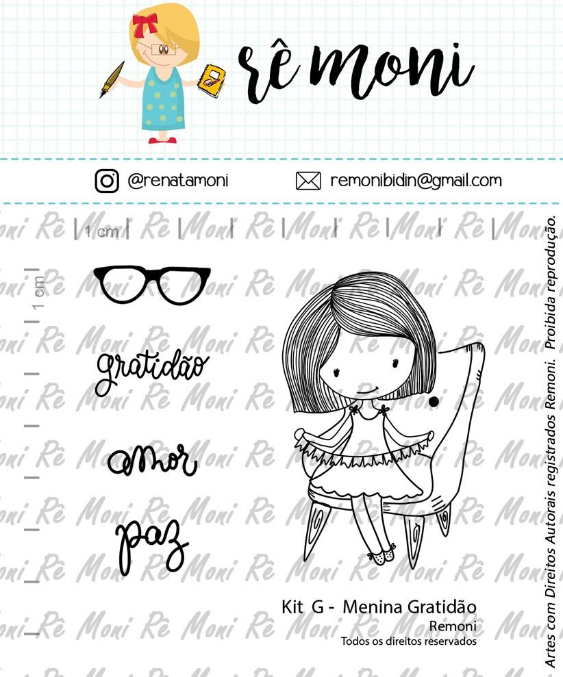 Kit de Carimbos G - Menina Gratidão - Remoni
