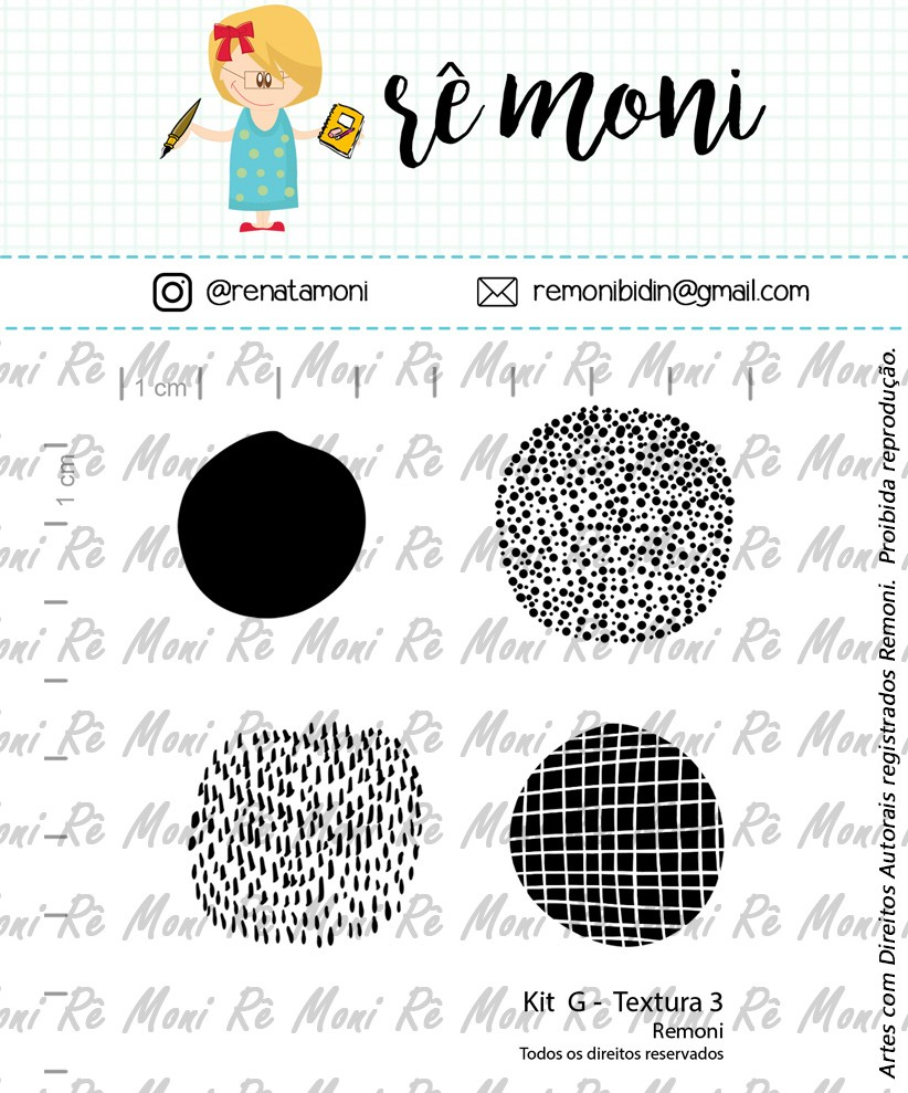 Kit de Carimbos G - Textura 3 - Remoni