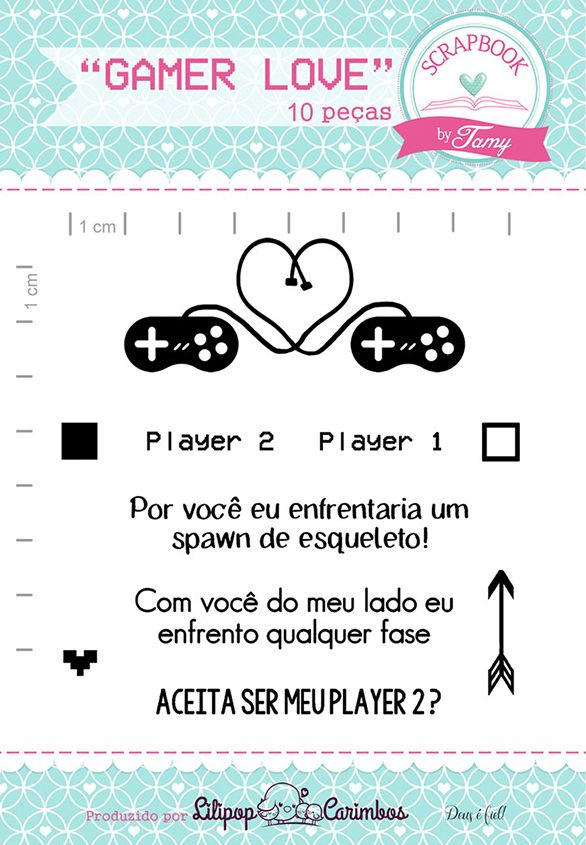 Kit de Carimbos - Gamer Love - Scrapbook by Tamy