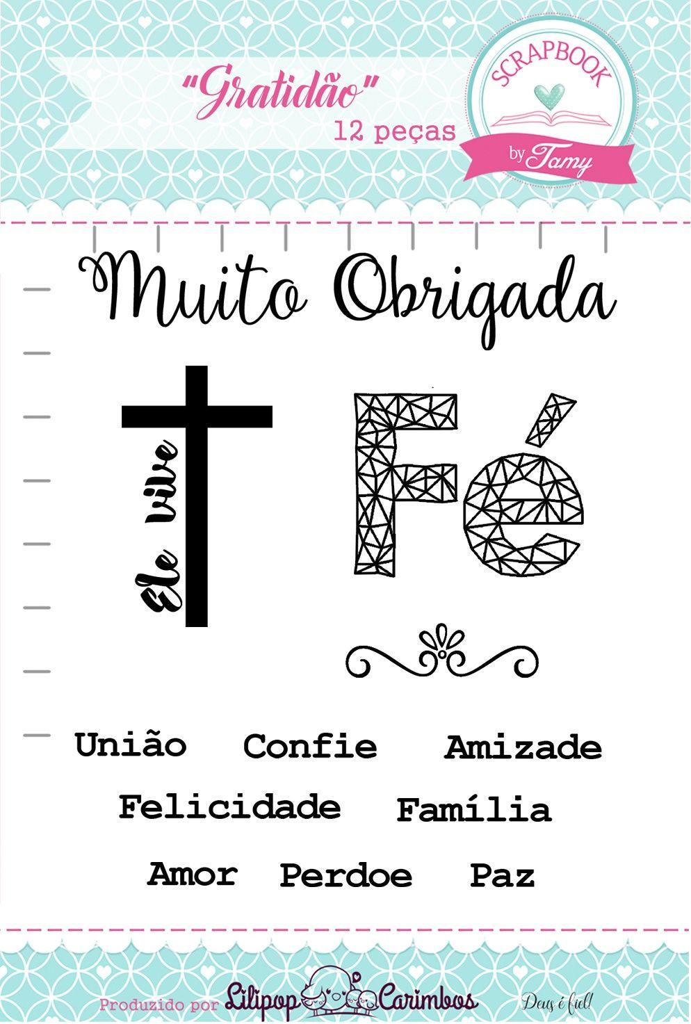 Kit de Carimbos - Gratidão - Scrapbook by Tamy