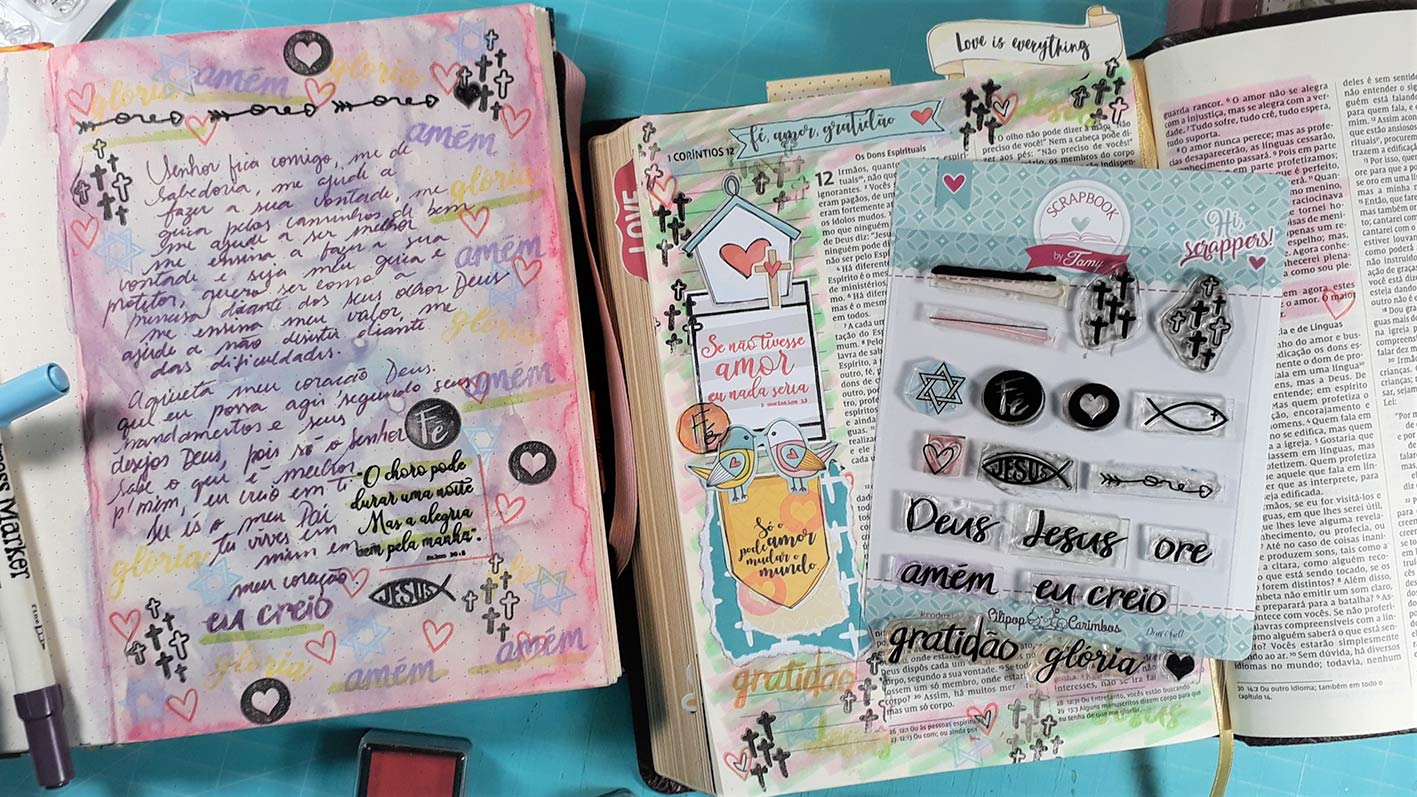 Kit de Carimbos - Gratidão 4  - Scrapbook by Tamy