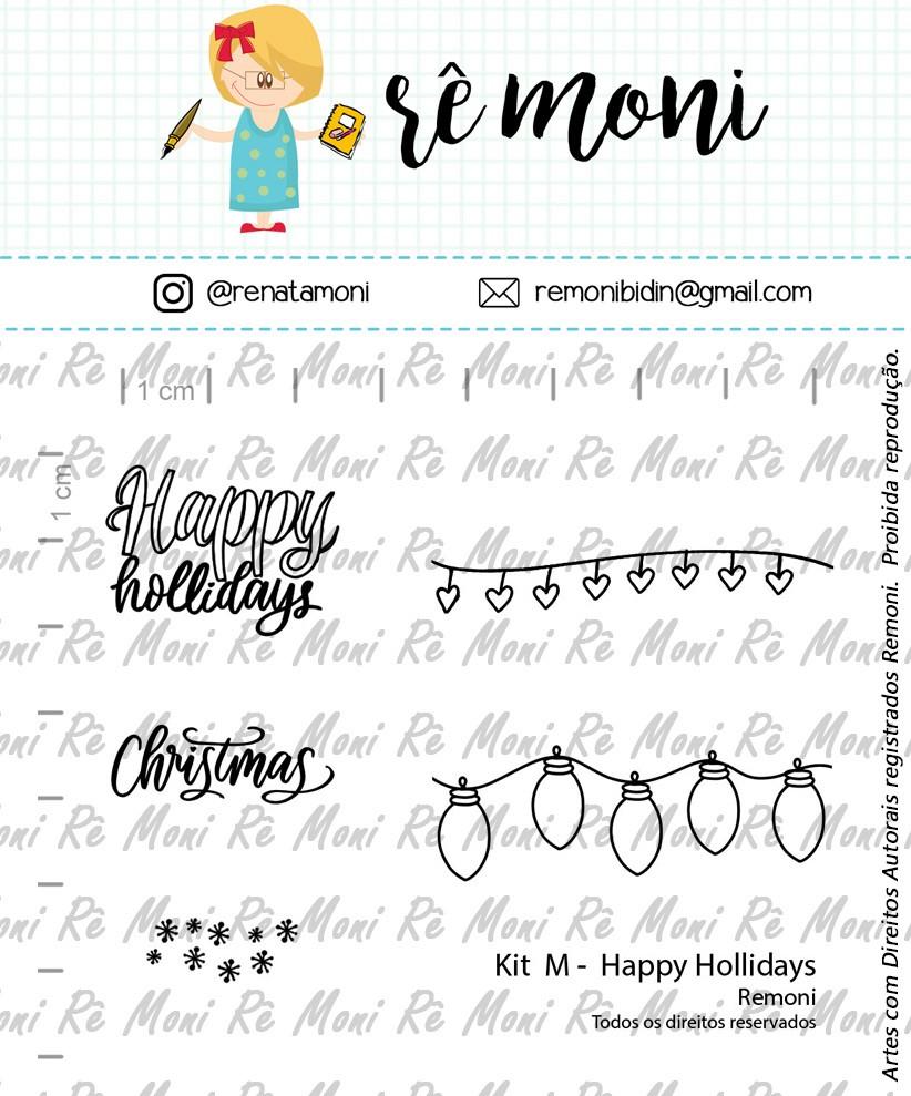 "Cartela de Carimbos M - ""Happy Hollidays"" - Remoni (Coleção Natal 2020)  - Lilipop carimbos"