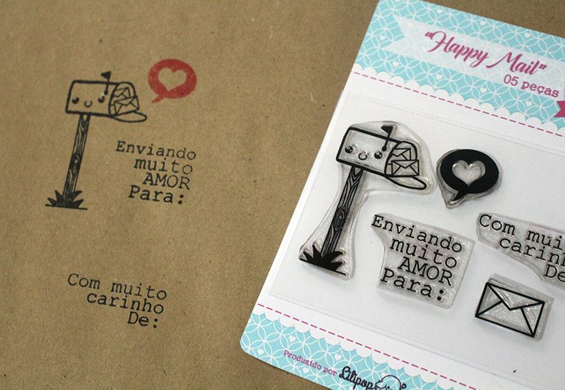 Kit de Carimbos - Happy Mail - Scrapbook by Tamy