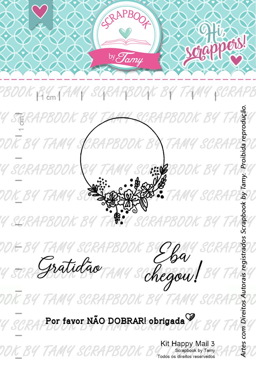 Kit de Carimbos Happy Mail 3 -  Scrapbook by Tamy