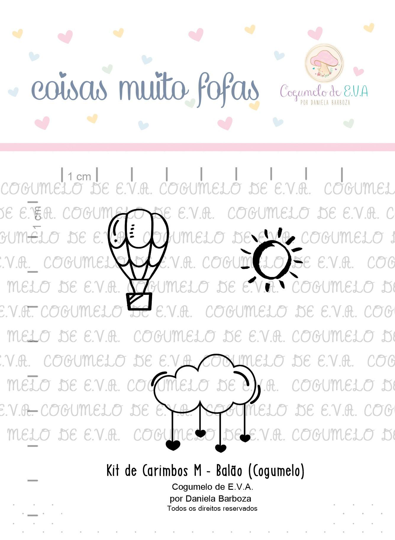 """Cartela de Carimbos M - """"Balão"""" - Cogumelo de E.V.A.  - Lilipop carimbos"""