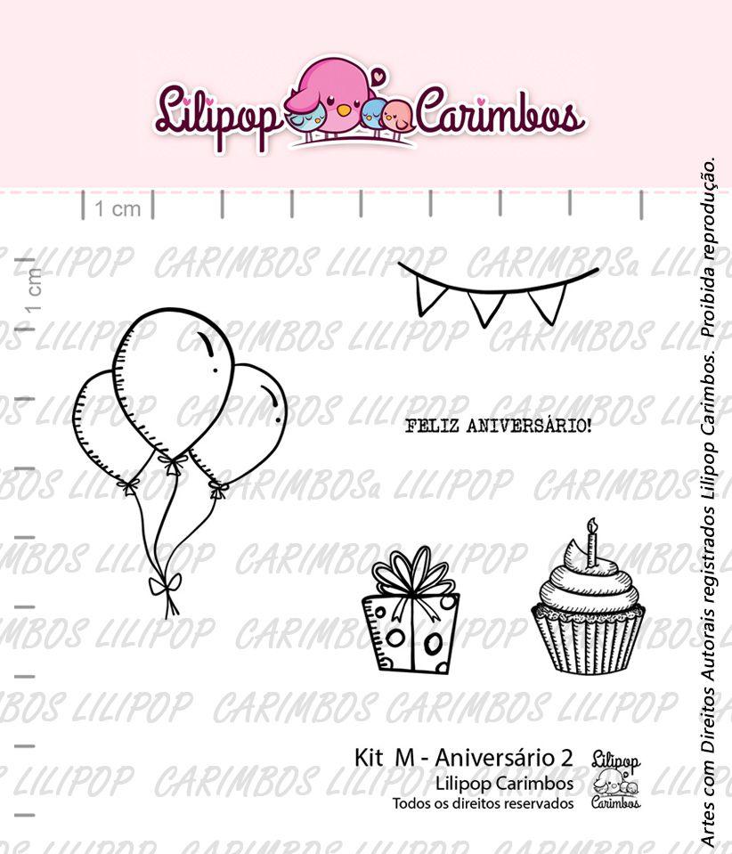 Kit de Carimbos M -  Aniversário 2 - Lilipop Carimbos