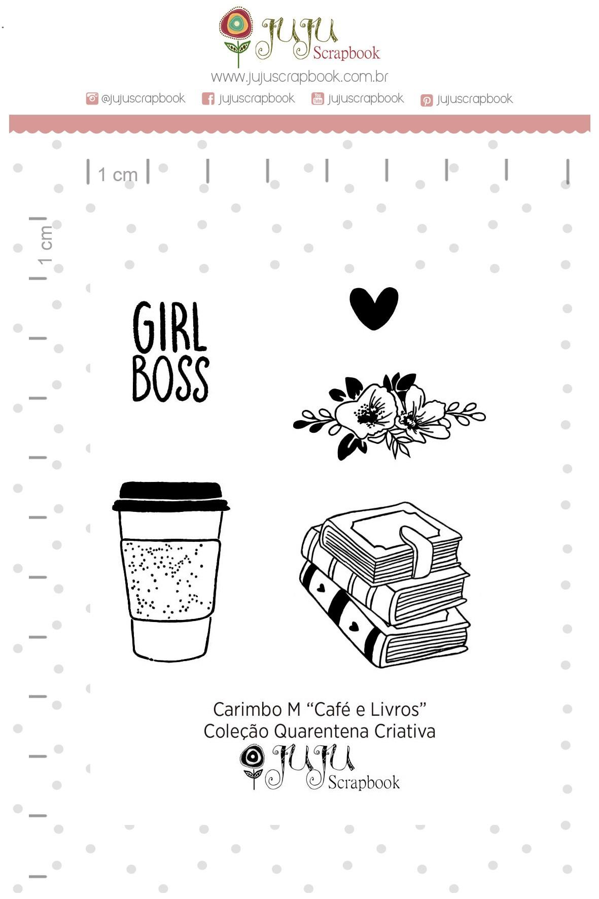 Kit de Carimbos  M - Café e Livros - Juju Scrapbook