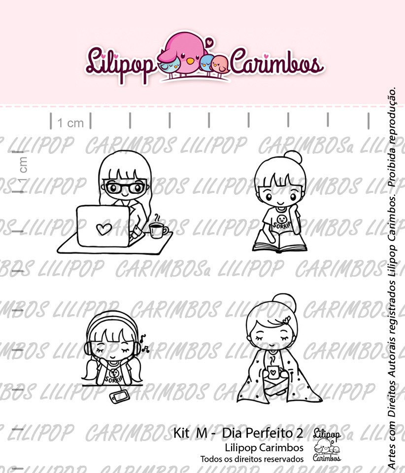 """Cartela de Carimbos M - """"Dia Perfeito 2"""" - Lilipop Carimbos  - Lilipop carimbos"""