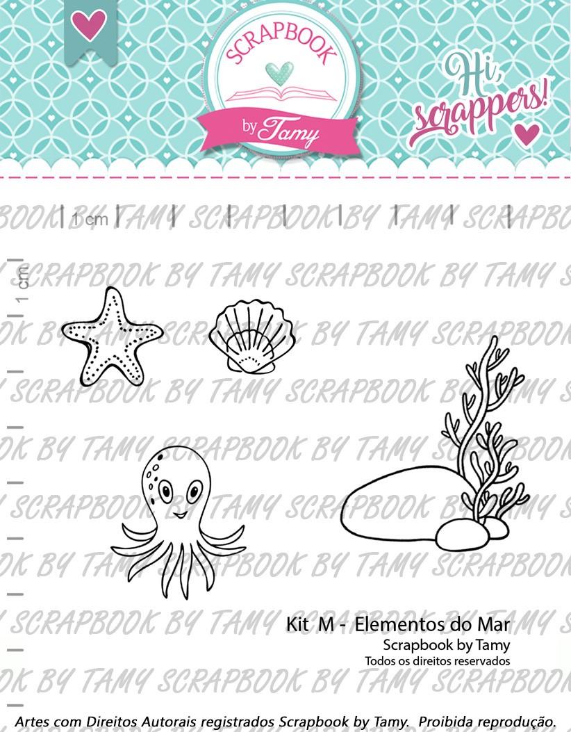 Kit de Carimbos  M - Elementos do Mar - Scrapbook by Tamy