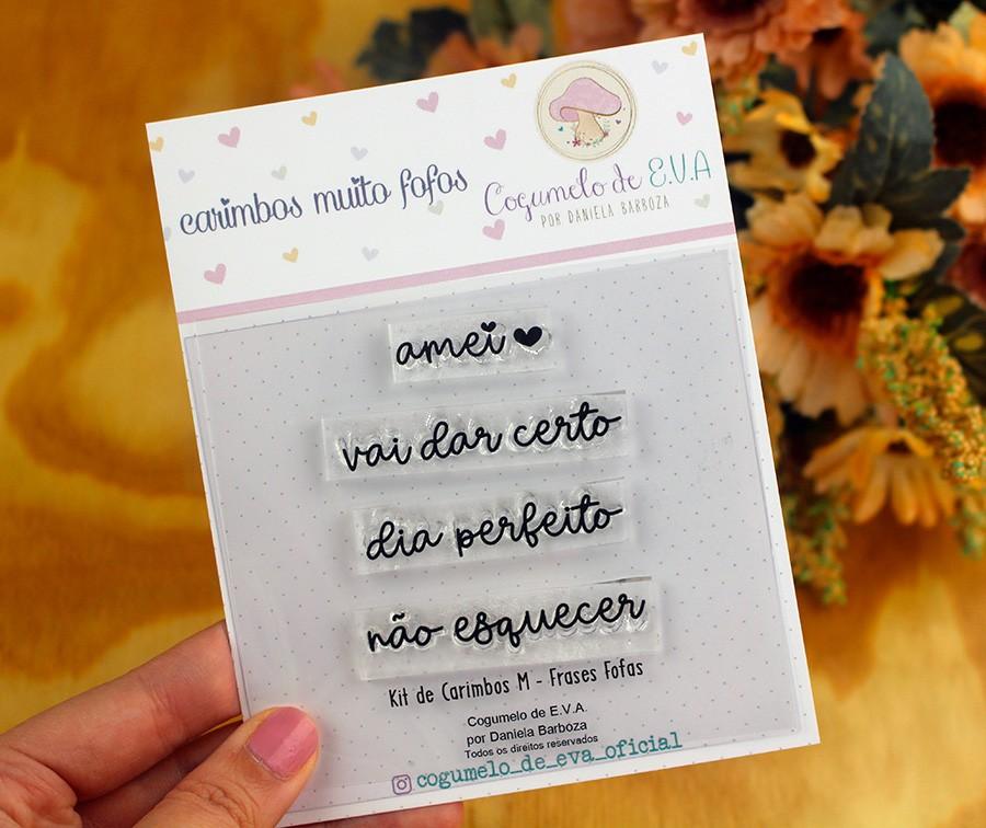 """Kit de Carimbos M - """"Frases Fofas""""   Cogumelo de E.V.A."""