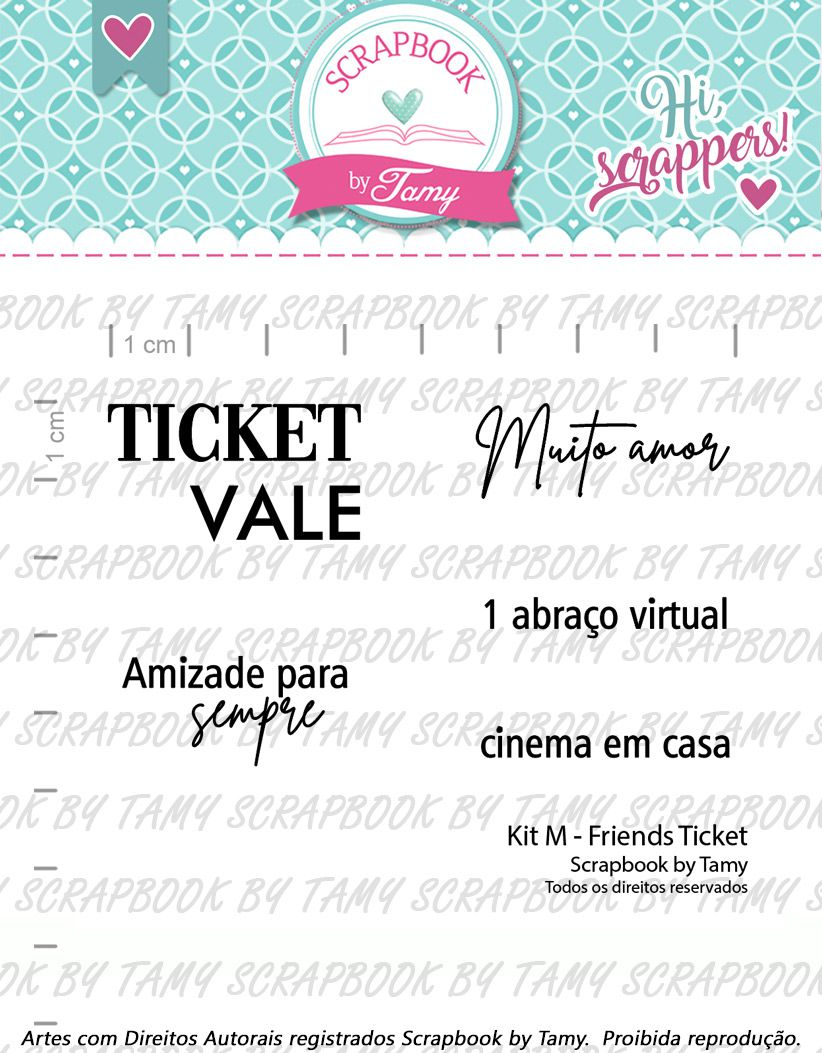 Kit de Carimbos M - Friends Ticket - Scrapbook by Tamy