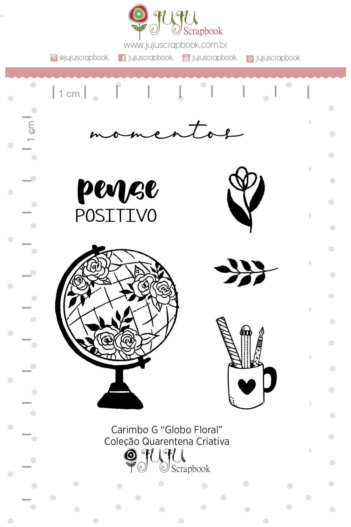 Kit de Carimbos  M - Globo Floral - Juju Scrapbook