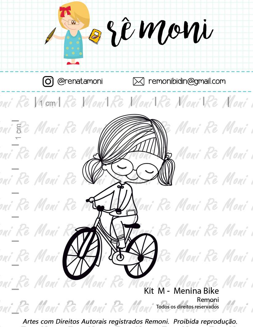 "Cartela de Carimbos M - ""Menina Bike"" - Remoni   - Lilipop carimbos"