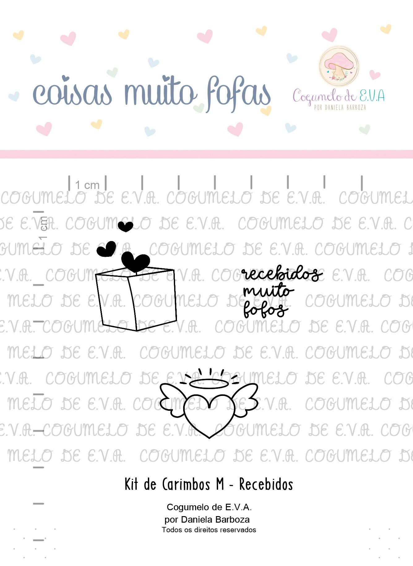 "Cartela de Carimbos M - ""Recebidos"" - Cogumelo de E.V.A.  - Lilipop carimbos"